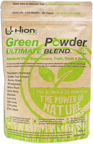 Hion Green Powder – ULTIMATE BLEND - ZERO BULKING AGENTS or fillers such as Maltodextrin or other useless ingredients! | The ORIGINAL industry-leading Vegan, alkaline & gluten-free Supergreens powder with proven REAL results!