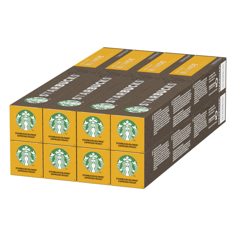 STARBUCKS Espresso Roast by Nespresso Blonde Roast Coffee Capsules, 10 capsules (Pack of 8, Total 80 capsules)