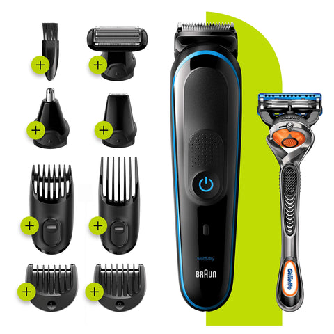 Braun 9-in-1 All-in-one Trimmer 5 MGK5280, Beard Trimmer for Men, Hair Clipper and Body Groomer with AutoSensing Technology and 7 Attachments, Black/Blue, UK Two Pin Plug Braun 9-in-1 Multi Grooming Kit MGK5280