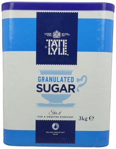Tate and Lyle Fairtrade Granulated Pure Cane Sugar Drum with Handle 3 kg 1