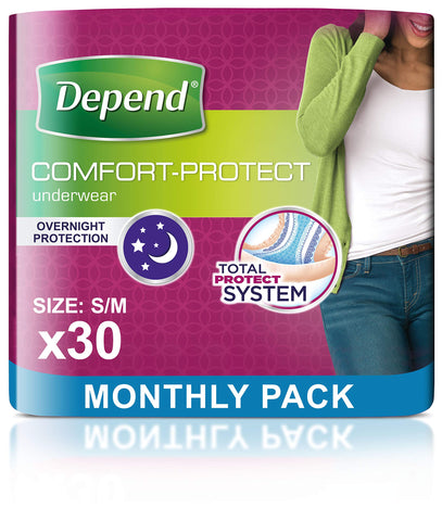 Depend Comfort Protect Incontinence Pants for Women, Small/Medium - 30 Pants 3 Packs