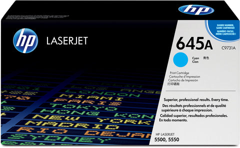 HP C9731A 645A Original LaserJet Toner Cartridge, Cyan, Single Pack