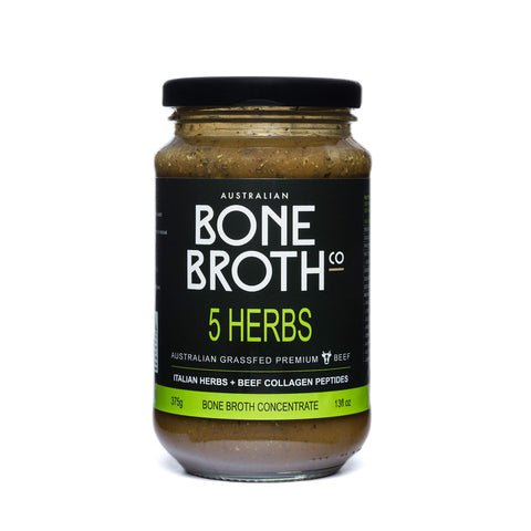 5 Herb Beef Bone Broth Concentrate - New 375 Gram Jar - Premium Bone Broth+Italian Herbs + Beef Collagen Peptides - Improve Your Well-Being, Joint + Bone Health 37 Serves Made in Australia