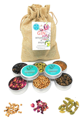 Gin in a Tin | Gin Botanicals Set of 6 Gin Infusion Botanical Gift Set with Rose Petals, Juniper Berries, Allspice, Gin Gift Set of Botanicals and Spices to Infuse and Garnish Your Gin and Tonic