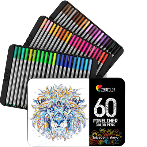 60 Fineliners Pens – 60 Unique Colors (with No Duplicates) – 0.4mm Fine Tip Felt Pens - Water-based Ink – Perfect for Calligraphy, Precise Drawings, Writing, Adult Coloring Books, Comics, Manga (60)
