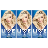 Schwarzkopf Live Intense Lightener, Permanent Colour with Anti-Yellowing – 3x 00A Absolute Platinum