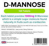 Lindens D-Mannose 1000mg Tablets | 120 Pack | Each Tablet Provides 1000mg D Mannose Which is A Simple Sugar Molecule Found Naturally in Fruits Such As Cranberries