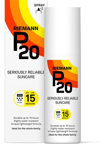Riemann P20 Sunscreen SPF15 Spray 100ml | Long Lasting UVA & UVB Protection for up to 10 hours | Highly Water Resistant 100 ml