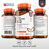Vitamin B12 1000mcg - 365 Tablets (1 year's supply) of Vegan Methylcobalamin - Reduction of Tiredness & Fatigue - Made in the UK by Nutravita