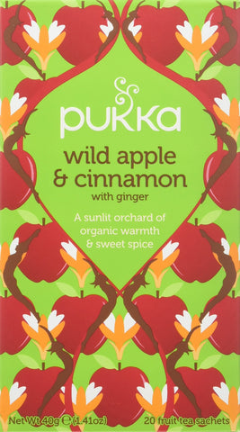 Pukka Wild Apple & Cinnamon Fruit Tea Bags - Organic & Naturally Caffeine Free (Pack of 4)