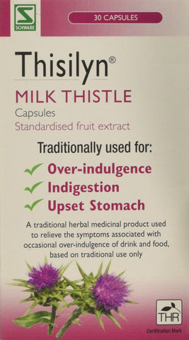 Schwabe Pharma Thisilyn Milk Thistle standardsied fruit extract capsules- Pack of 30 Capsules