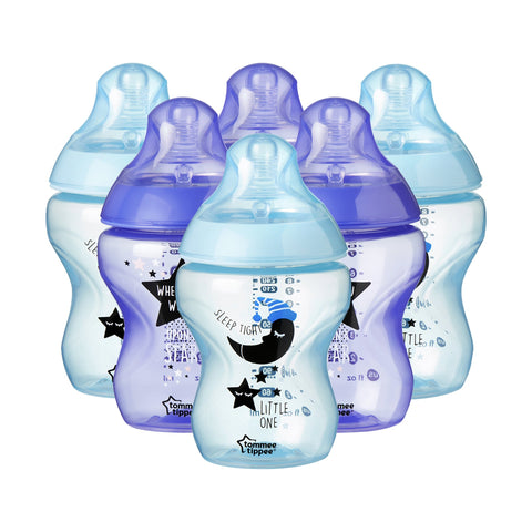 Tommee Tippee Closer to Nature Decorated Bottles, 260 ml, 6 Count Blue/Purple