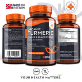 Organic Turmeric Curcumin 1440mg with Black Pepper & Ginger - 180 Vegan Turmeric Capsules High Strength (3 Month Supply) - Made in The UK by Nutravita