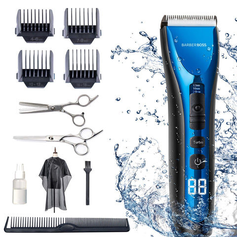 BarberBoss Professional Hair Clippers for Men Kids Family, Waterproof Hair Trimmer Cordless Rechargeable Led Display Three Speed Adjustment Electric Ceramic Blades Hair Clippers Beard Trimmer Cordless