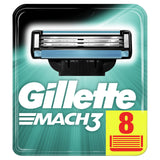 Gillette Mach3 Razor Blades for Men with Stronger-Than-Steel Blades, 8 Refills (Packaging May Vary) Standard Packaging