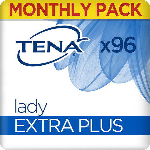 TENA Lady Extra Plus Towels, for Moderate to Heavy Bladder Weakness, Monthly Pack of 96 Incontinence Pads for Women