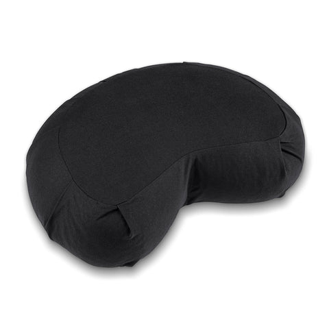 Lotuscrafts Zafu Meditation Cushion Crescent Siddha - Height 15 cm - Spelt Filling - Washable Cover Organic Cotton - Yoga Cushion - Meditation Pillow - Yoga Pillow - GOTS Certified Black