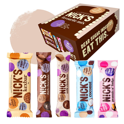 Nicks Favourite Mix Box with Assorted Chocolate Bars, no Added Sugar, Gluten Free (10 x 40g + 2 x 25g)