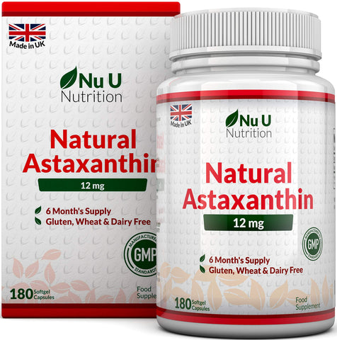 Astaxanthin 12mg | 180 Softgels (6 Month Supply) | Astaxanthin From Nu U Nutrition