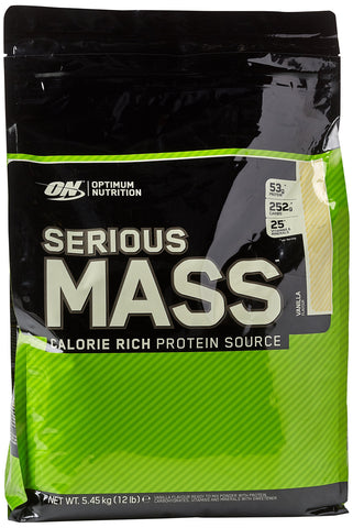 Optimum Nutrition ON Serious Mass High Calorie Mass Gainer Protein Powder with Vitamins, Creatine and Glutamine, Vanilla, 16 Servings, 5.45 kg 12 Pound - 4.45 Kg