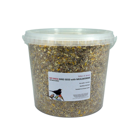 Britten & James All in One High Protein No Mess wild bird seed WITH ADDED MEALWORMS. Feed freely all year round and especially in winter and spring. Recommended by The British Trust for Ornithology. No Mess Bird Seed with Dried Mealworms 5L (3.69kg)