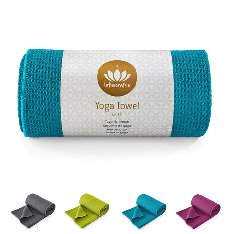 Lotuscrafts Hot Yoga Towel Grip - Non-slip & Fast-drying - Non Slip Yoga Towel with Excellent Ground Grip - Hot Yoga Mat Towel Non Slip - Bikram Yoga Towel - Yoga and Pilates Towel [183 x 61 cm] Petrol
