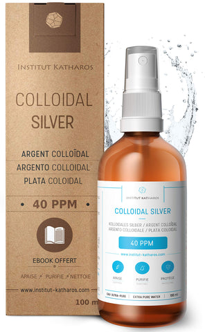 Premium Colloidal Silver Spray 40 PPM 100mL ✅100% Natural ✅Superior Concentration, Smaller Particles = Better Results ✅Certified by 3 Independent Laboratories ✅Choose a Specialist ✅Institut Katharos 100 mL