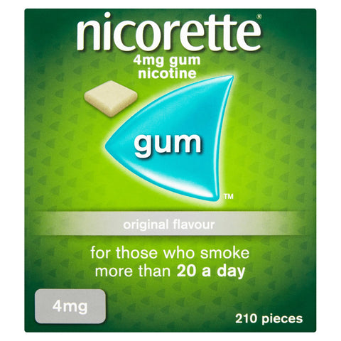 Nicorette Original Chewing Gum, 4 mg, 210 Pieces (Stop Smoking Aid) - Packaging may Vary 4 mg - Pack of 210 Gums