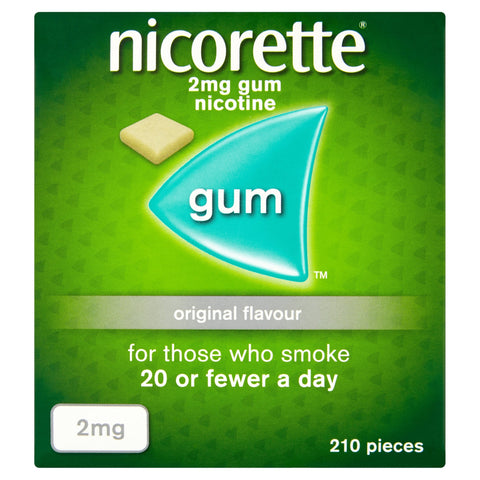 Nicorette Original Chewing Gum, 2 mg, 210 Pieces (Stop Smoking Aid) - Packaging May Vary 2mg - Pack of 210 Gums