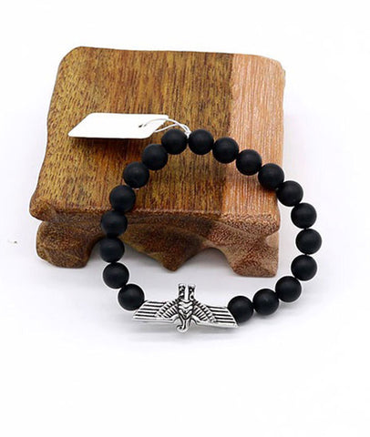 Natural Matte Black Agate Beaded Bracelets Handmade Wristband