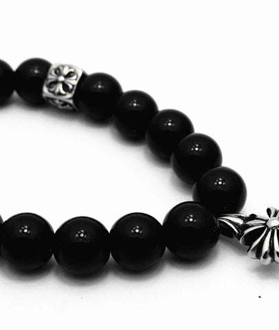 Natural Black Agate Chrome Heart 12mm Beaded Bracelets for Men and Women