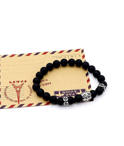 Trendy Titanium Cross Beaded Bracelet with 8mm Matte Black Agate