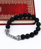 Fashion Lava Stone 10mm Beaded Bracelet Titanium Jewelry for Men