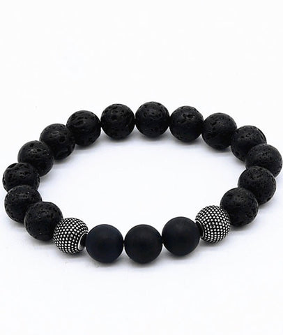 Fashion Street Snap Style-Volcanic and Matte Agate Beaded Bracelet