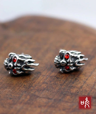 Korean Style Fire Skull Earrings Stud for Men