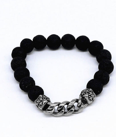 Hot-Selling Volcanic Bracelet with Stainless Steel Chrome Heart Star Chain for Men