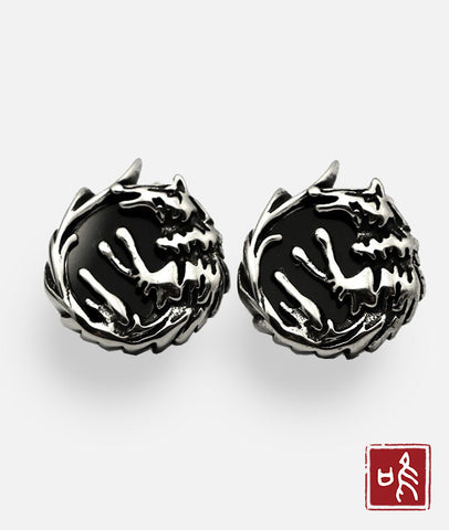 Trendy Big Round Wolf Totem Ear Stud