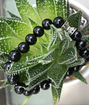 Beaded Bracelet for Women Sterling Silver Elephant Black Agate-Online Jewelry