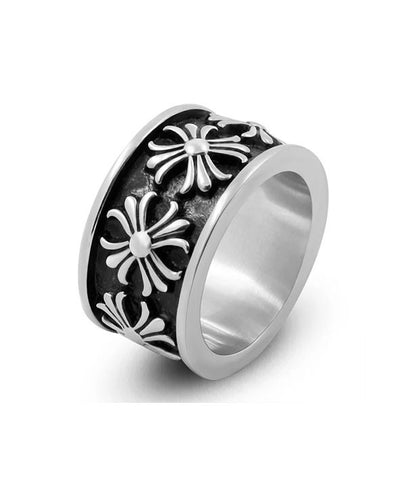 Promise Ring for Couples Floral Cross Eternity Ring for Men and Women