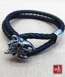 Evil Mask Leather Bracelet