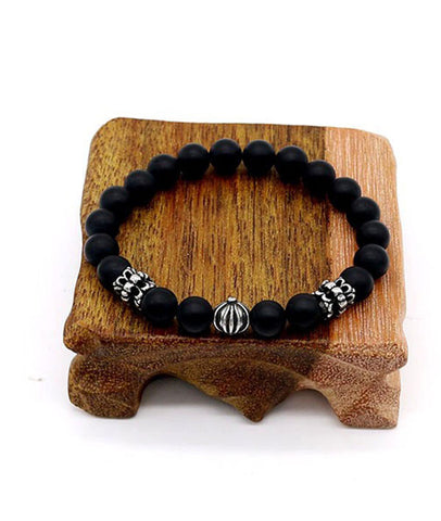 Natural Matte Black Agate 8mm Beaded Bracelets for Men and Women