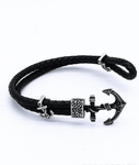 New Arrival Vintage Titanium Anchor Leather Bracelet for Men