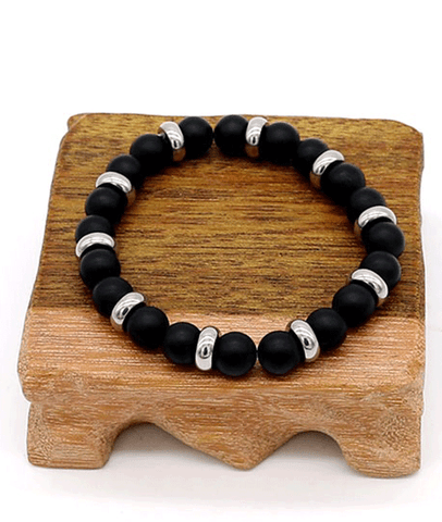 New Arrival Titanium Bead Matt Black Agate Beaded Bracelet For Men