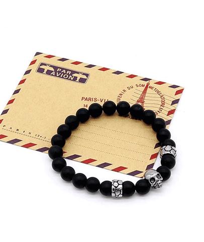 New Arrival Matte Black Agate Beaded Jewelries Titanium Skull Bracelet For Men