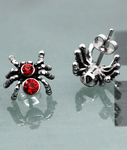 Popular Red Zircon Spider Titanium Earrings for Girls and Boys