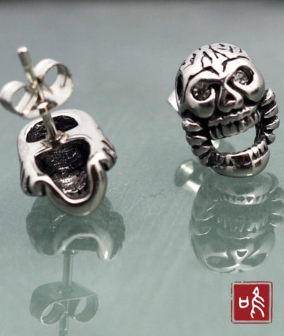 Vintage Titanium Steel Big Mouth Skull Ear Studs