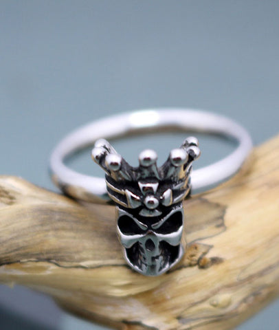 Skull crown rings for men