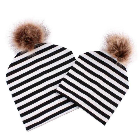Image of Matching Beanie Knitted Hats with Faux Fur - MyShoppingSpot