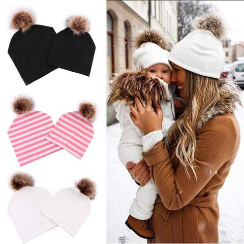Matching Beanie Knitted Hats with Faux Fur - MyShoppingSpot