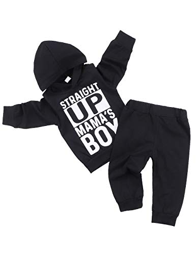 Toddler Baby Boy Clothes Straight Up Mama's Boy Hoodie and Pants Infant Outfits Sets 18-24 Monthes Black